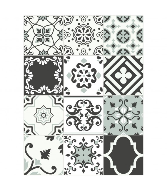 PACK 24 ADHESIVE TILES PATCHWORK
